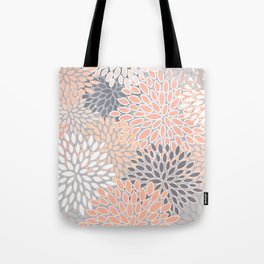 Flowers Abstract Print, Coral, Peach, Gray Tote Bag