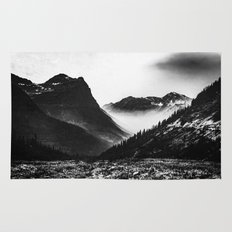 Mountains and Forest - Black and White Glacier National Park Rug