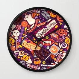 Creepy Halloween Candy on Purple Wall Clock