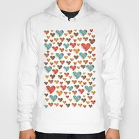 hearts Hoodies featuring Hearts by Eleaxart