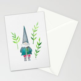 Summer Gnome - Green Leaves Stationery Cards