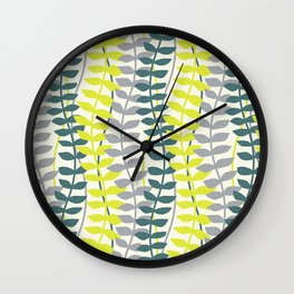 seagrass pattern - teal and lime Wall Clock