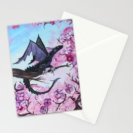Baby Black Dragon in Cherry Tree Stationery Cards