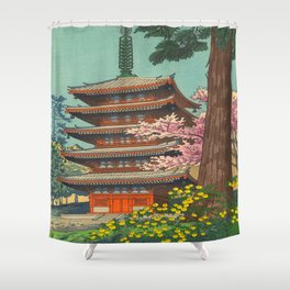 Asano Takeji Spring in Daigoji Temple Vintage Japanese Woodblock Print Detailed East Asian Art Shower Curtain
