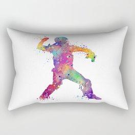 Baseball Player Softball Catcher Colorful Watercolor Sports Artwork Rectangular Pillow