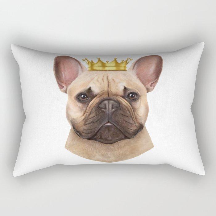 French bulldog with crown Rectangular Pillow