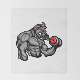 a strong angry bull with a barbell Throw Blanket