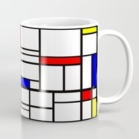 mondrian Mugs featuring Mondrian inspired by Steve W Schwartz Art