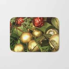Contemporary Christmas Ornaments in Holiday Red and Gold Bath Mat