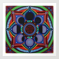 moon phase Art Prints featuring Rose & Moon Phase Mandala by Paula Savage