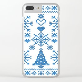 Christmas Cross Stitch Embroidery Sampler Teal And White Clear iPhone Case