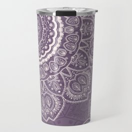 Mandala Tulips in Lavender ad Cream Travel Mug