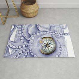 Purple Blue Octopus Compass Nautical Rug