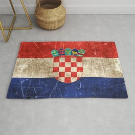 Vintage Aged and Scratched Croatian Flag Rug