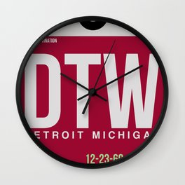 DTW Detroit  Luggage Tag 1 Wall Clock