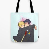 iwatobi Tote Bags featuring Penguin and Butterfly  by Alyssa Tye