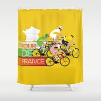 tour de france Shower Curtains featuring Tour De France by Wyatt Design
