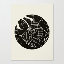 Wismar Karte Rund Canvas Print