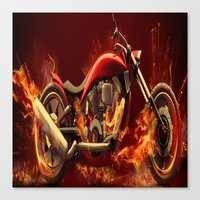 motorbike Canvas Prints featuring FIRE MOTORBIKE by Acus