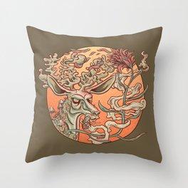 Deer Smoke & Indian Paintbrush Throw Pillow