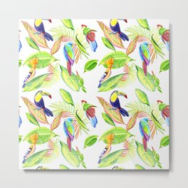 tropical pattern with parrots and toucan Metal Print