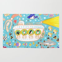 yellow submarine Area & Throw Rugs featuring submarine by AW illustrations