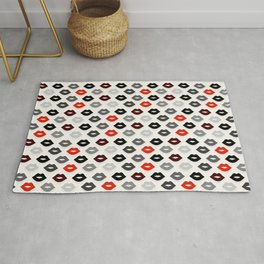 Retro Lips - Red, Grey and Black Pattern Rug