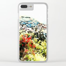 Tortora view with red flower Clear iPhone Case