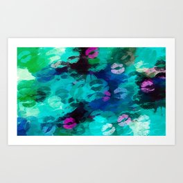 pink blue and green kisses lipstick abstract background Art Print