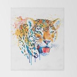 Leopard Head Portrait Throw Blanket