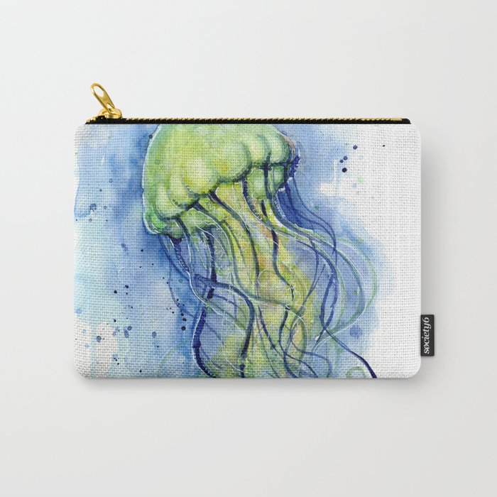 Jellyfish Watercolor Beautiful Sea Creatures Carry-All Pouch