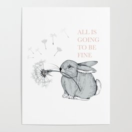 Cute vector hand drawn rabbit holding dandelion Poster