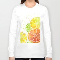fruit Long Sleeve T-shirts featuring Fruit Watercolor by Olechka
