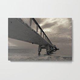 Cloudy Sea Pier Metal Print