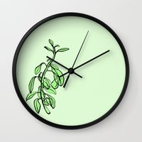 plant Wall Clocks featuring Plant by Maria Nordtveit