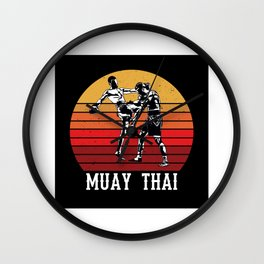 Muay Thai Retro Kick Boxing Gift Idea Design Wall Clock