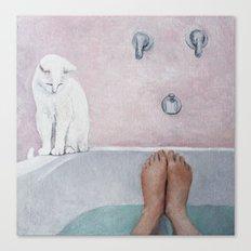 bath with a white cat Canvas Print