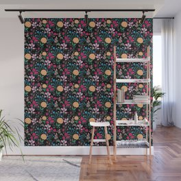 Pretty Pink & Yellow Small Floral Black Design Wall Mural