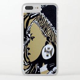Zulu girl with zebra print 3 Clear iPhone Case