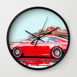 The Red Porsche Wall Clock