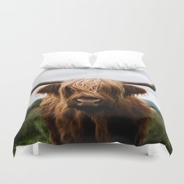 Scottish Highland Cattle in Scotland Portrait II Duvet Cover