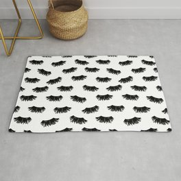 Lashes black and white brushstrokes painting eyelashes makeup art pattern Rug