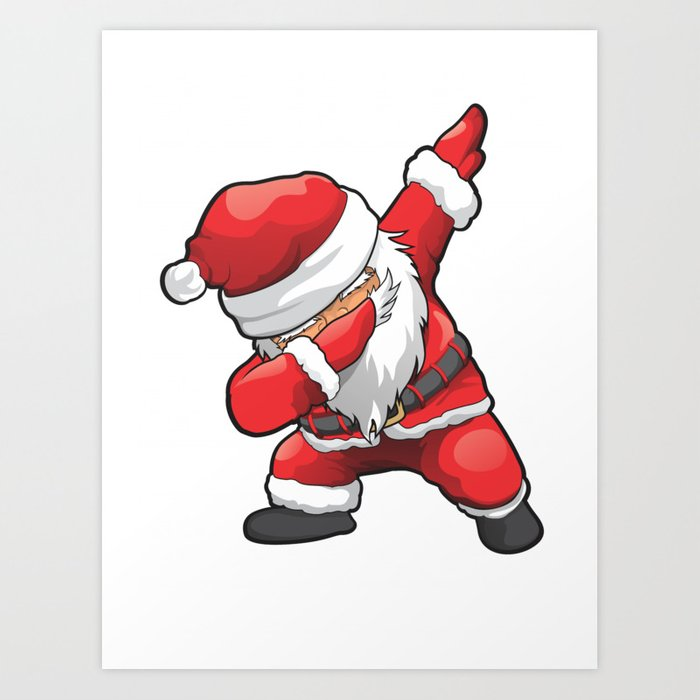 Christmas Pictures To Print.Funny Dabbing Santa Merry Christmas Art Print By Dihart