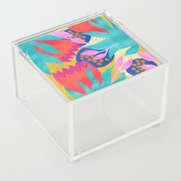 Bold Flower Pattern Yellow Background Acrylic Box