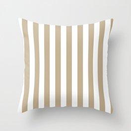 Narrow Vertical Stripes - White and Khaki Brown Throw Pillow