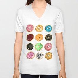 Dozen of colorful donuts Unisex V-Neck