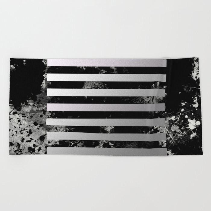 Industrial Action - Metallic, black and white, abstract, geometric, textured painting Beach Towel