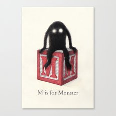 M is for Monster Canvas Print