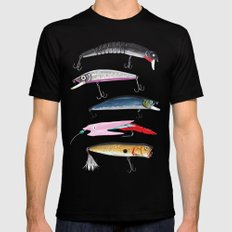 Fishing Lures Mens Fitted Tee LARGE Black