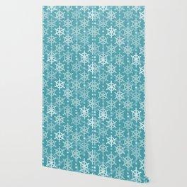 Mid Century Modern Snowflakes Turquoise Wallpaper